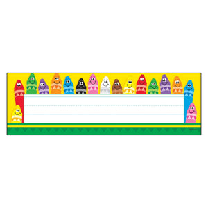 Trend Colorful Crayons Desk Toppers Name Plates, 36/pack (T-69013)
