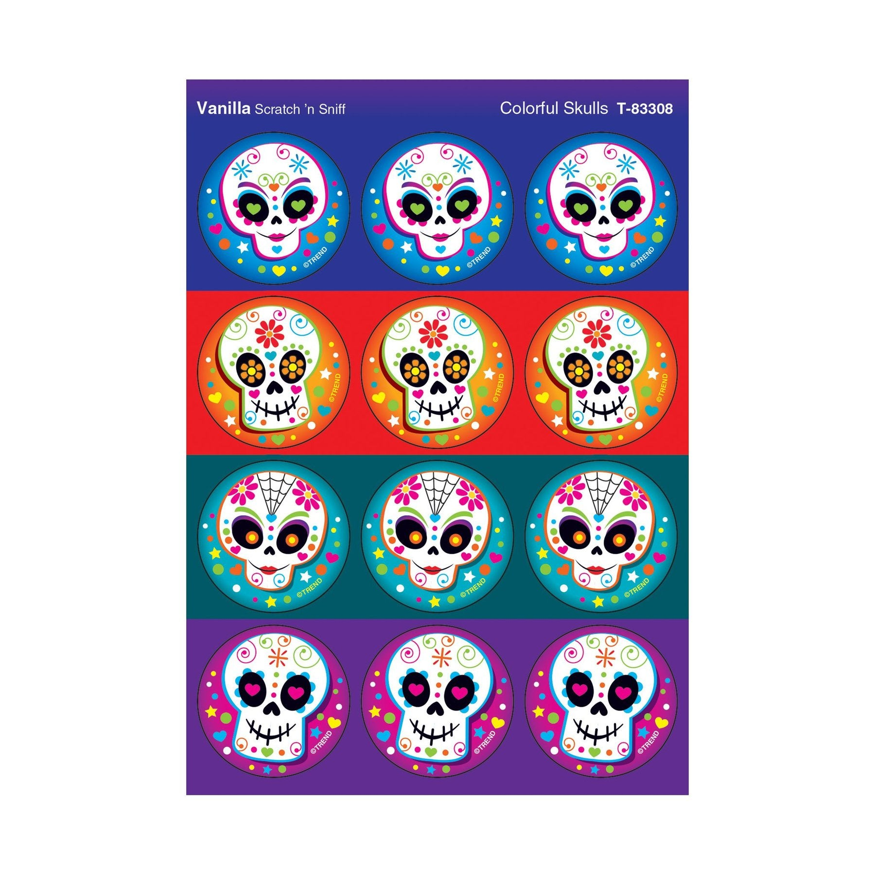Stinky Stickers Scratch and Sniff, Colorful Skulls, Vanilla Scent T-83308