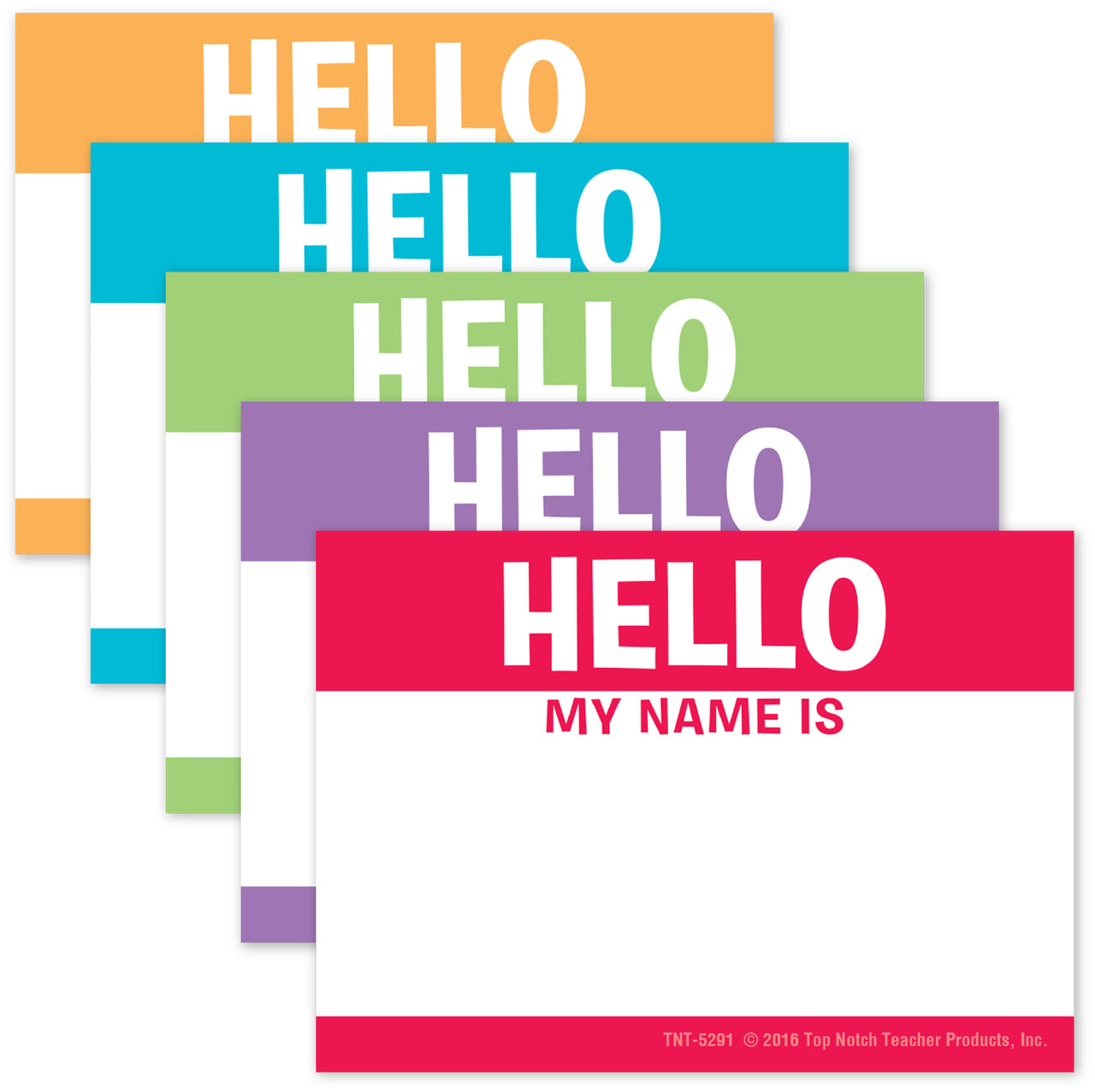 """Hello my Name is"" Name Tags Labels Assorted Colors, Pack of 32  (TNT5291)"
