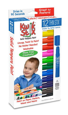 The Pencil Grip Kwik Stix Solid Tempura Paint, Thin, Set of 12 (TPG-608)