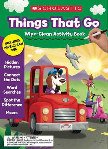 Scholastic THINGS THAT GO Wipe-Clean Activity Book Workbook