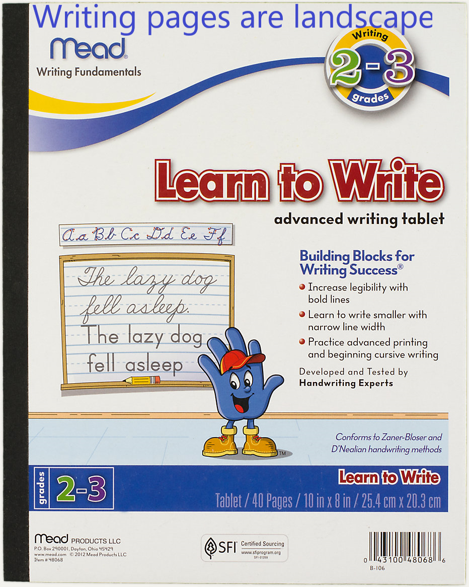 Mead® Learn to Write Advanced Tablet, 40 ct, Grades 2-3 (48068) Landscape