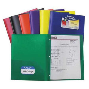 C-Line 3-Prong 2 Pocket Poly Portfolio / Folder, Assorted Colors