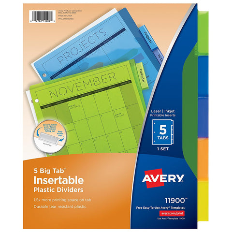 Avery 5 Big Tab Insertable Plastic Dividers 11900