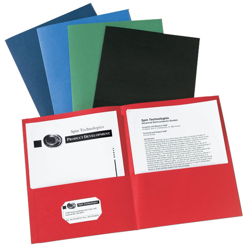 Avery Two-Pocket Portfolios, Embossed Paper, Assorted, Box of 25 (47993)