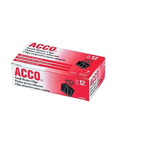 Box of 12 ACCO Small Binder Clips