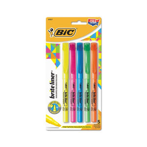 Bic Brite Liner Highlighters, Pen Style, Set of 5 Assorted Colors