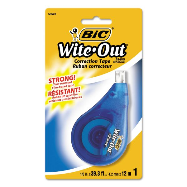 "Bic Wite-Out EZ Correction Tape, 1/6"" x 39', White"