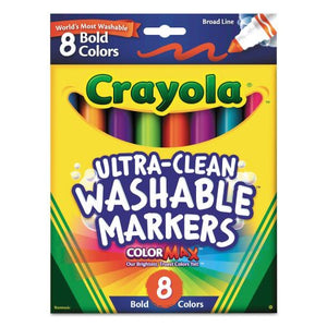 Crayola Washable Markers, Broad Point, Bold Colors, 8/Set