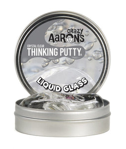 "Crazy Aaron's Liquid Glass Crystal Clear 4"" Thinking Putty Tin, Soft Texture"
