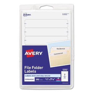"Avery Print or Write File Folder Labels, Pack fo 252, 2/3"" x 3-7/16"" (5202)"