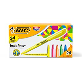 BIC Highlighters, 24 pack, Variety Pack, Pen Style, Chisel Tip