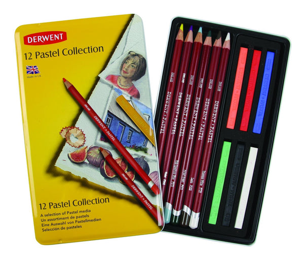 Derwent 12 Count Pastel Collection 6 Pencils, 5 Blocks, Blending White in Metal Tin