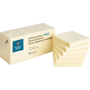 "Business Source Adhesive Sticky Notes, Yellow 3"" x 3"" (36612)"