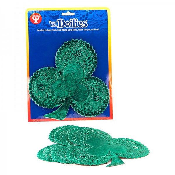 "Hygloss Paper Lace Shamrock Doilies, 6"", 24 Pack"