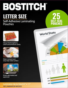 "Bostitch Self-Adhesive Laminating Pouches, 8.5"" x 11"", Pack of 25 Self Seal"