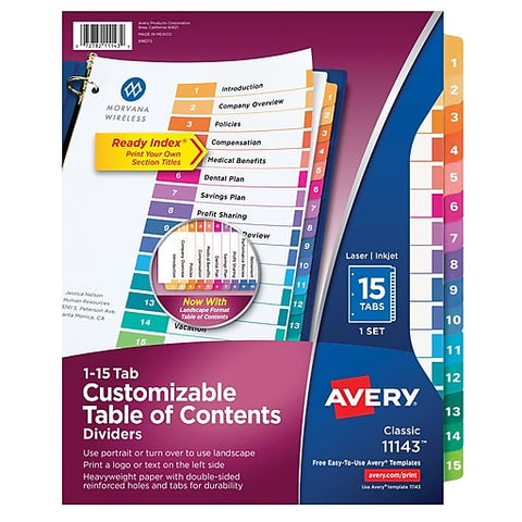 Avery Classic 1-15 Tab Customizable Table of Contents Dividers # 11143