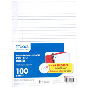 Mead® Reinforced Filler Paper: 100ct, College-Ruled (15008)