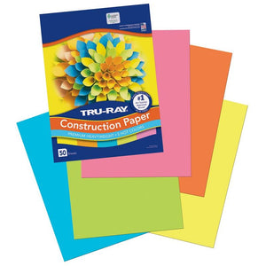 Tru-Ray Hot Assorted Construction Paper, 50 Count