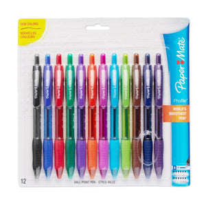 Paper Mate Profile Retractable 1.4mm Point Ballpoint Pens, 12 Colored Ink Pens (1788863)