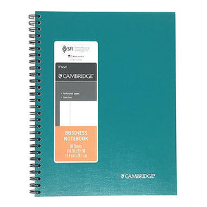 "Cambridge Business Notebook, Date Box, 6-5/8"" x 9-1/2"", Teal, 80 Sheets (29685)"