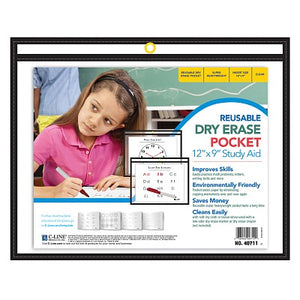 "C-Line® Reusable Dry Erase Pocket, 9"" x 12"" Landscape, Black (CLI40711)"