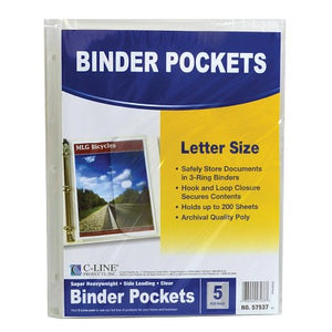 C-Line Poly Binder Pockets w/ Hook Loop Closure, Clear 5 PK (57537)