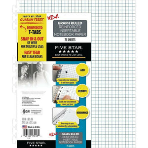 Five Star Reinforced Graph Ruled Filler Paper, Insertable, 75ct (17018)
