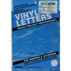 Permanent Adhesive Vinyl Letters & Numbers, White or Blue
