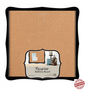 Quartet Cork Bulletin Board Black Frame Rounded Scroll Design 14in x 14in