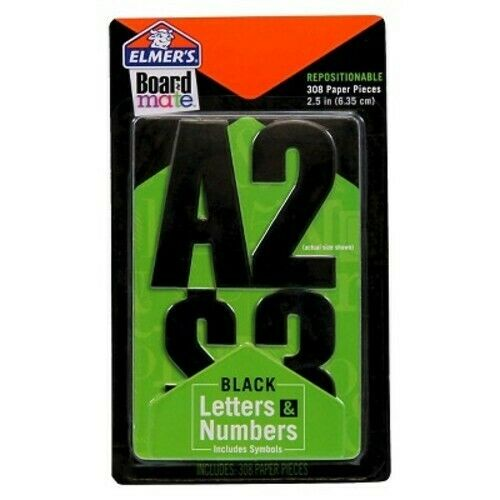 Elmer's Board Mate Repositionable Black Letters/Numbers/Symbols, 308 Pieces