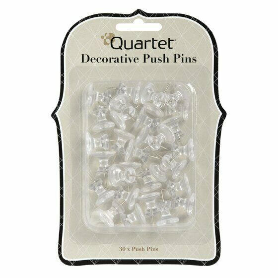Quartet Home Organization Decorative Push Pins, Clear, 30/Pack (92003)