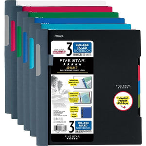 Mead Five Star College Ruled Subject Notebook, 3 Subjects,  Assorted Colors