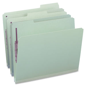 "Smead Pressboard File Folder with 2 SafeSHIELD  Fasteners, 1/3-Cut Tab, 1"" Expansion, Letter Size, Gray/Green, Box of 32 (14931)"