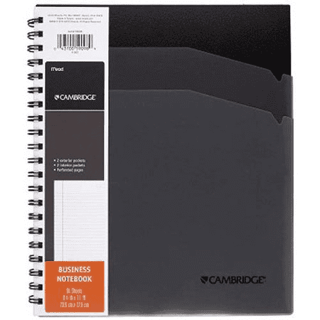 "Mead Cambridge Business Notebook, Black, 80 Sheets, 8.25"" x 11"" (59098)"