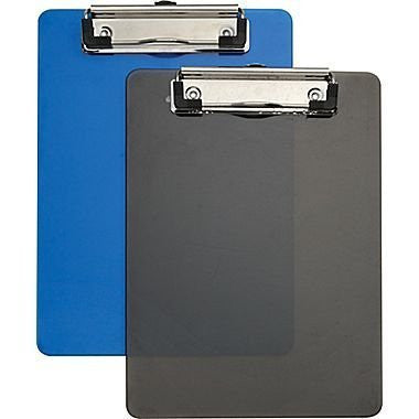 "Plastic Memo Clipboards, Black & Blue, 2/Pack, 6"" x 9"""