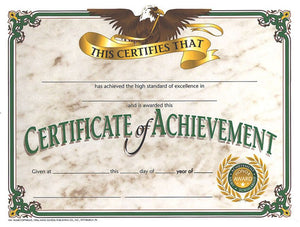 "Hayes Certificate of Achievement, Pack of 30, 8.5"" x 11"" (VA508)"