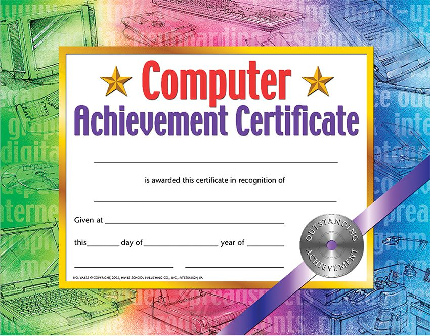 Hayes Computer Achievement Certificate Award Pack of 30 (VA635)