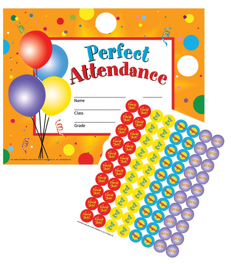"Hayes Perfect Attendance Certificates & Reward Seals, 30 Pack, 8.5"" x 11"" (VA801)"