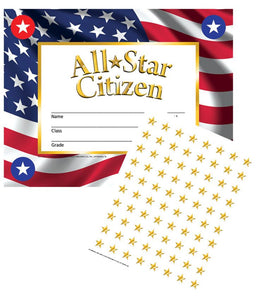 "Hayes All-Star Citizen Certificates & Reward Seals, 30 Pack, 8.5"" x 11"" (VA805)"