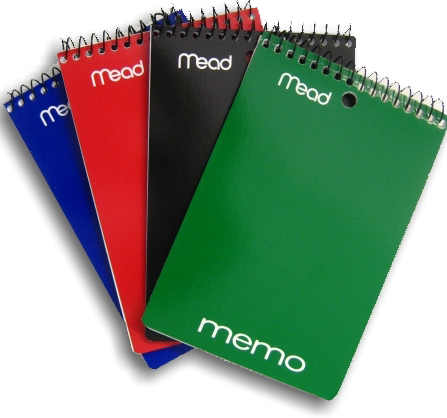 Mead Coil Memo Notebook, 4in by 6in, Various Colors