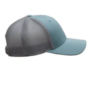 Smoke Blue Snapback Hat Leather Patch