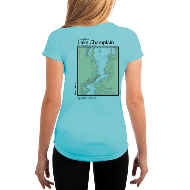 Coastal Classics Lake Champlain Womens Upf 5+ Uv/sun Protection Performance T-Shirt Water Blue / X-Small Shirt