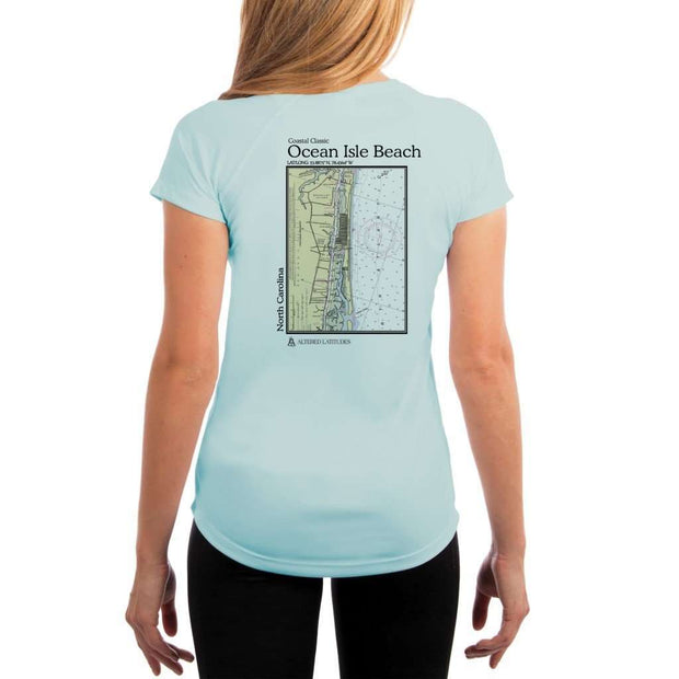 Coastal Classics Ocean Isle Beach Womens Upf 5+ Uv/sun Protection Performance T-Shirt Arctic Blue / X-Small Shirt