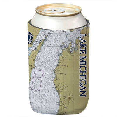 Altered Latitudes Lake Michigan Chart Standard Can Cooler (4-Pack)