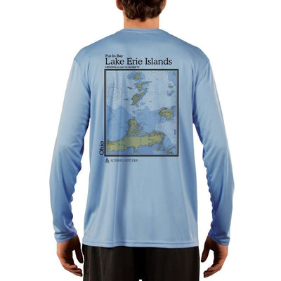 Coastal Classics Lake Erie Islands Mens Upf 5+ Uv/sun Protection Performance T-Shirt Columbia Blue / X-Small Shirt