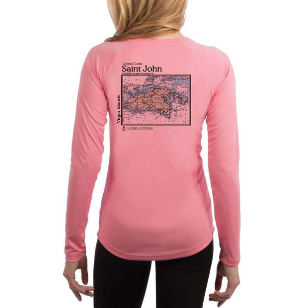 Coastal Classics Saint John Womens Upf 5+ Uv/sun Protection Performance T-Shirt Pretty Pink / X-Small Shirt