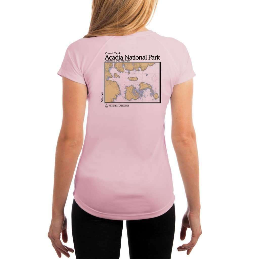 Coastal Classics Acadia National Park Womens Upf 50+ Uv/sun Protection Performance T-Shirt Pink Blossom / X-Small Shirt
