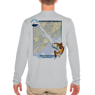 Fish Charts Hilton Head Men's UPF 50+ Long Sleeve T-Shirt