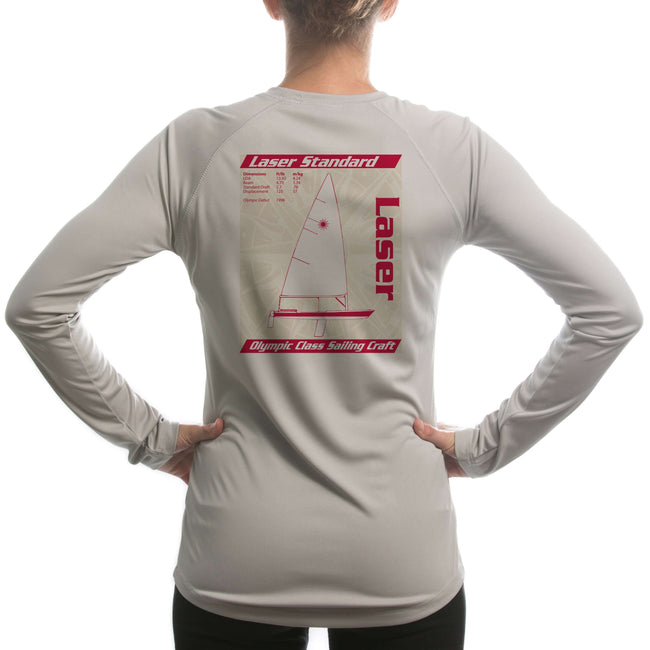 Laser Olympic Class Sailboat Red Women's UPF 50+ Long Sleeve T-shirt